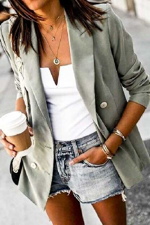 Long Sleeve Front Double Pocket Blazer Jacket
